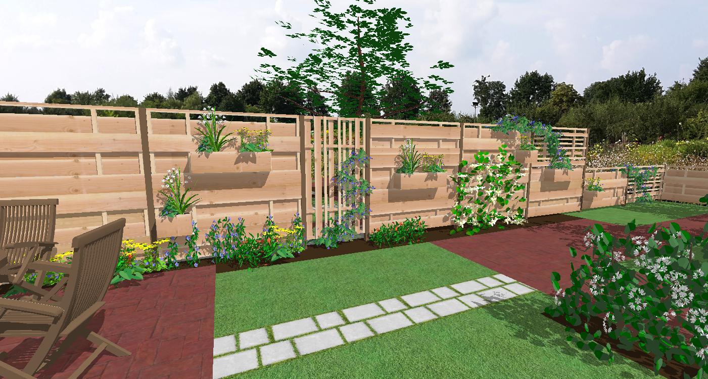 Idee schutting voorbeeld opstelling in tuin 1